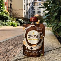 🌱 🍫 🍌.. SMOWL Cacao Banane Açaì en mode parisien 😎. Il débarque chez @bio_c_bon ! . #smowl #gosmowl #biocbon #paris #sain #snack #healthy #snacking #sunshine #weekend#energy